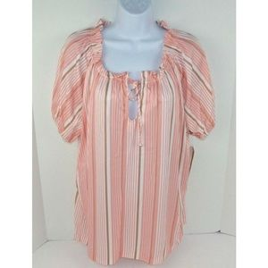 Vtg 70s Pink/White Striped Tunic Top